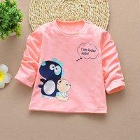 Cute Dinosaur and Bear Print Long-sleeve T-shirt for Baby Girl
