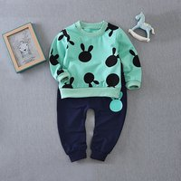 Cute Rabbit Print Long-sleeve Top and Pants Set for Toddler Boy