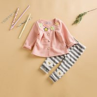 Sweet Flower Appliqued Long-sleeve Coat and Striped Pants Set for Baby Girl