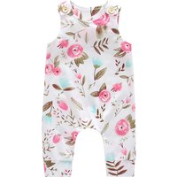 Pretty Flower Print Sleeveless Jumpsuit for Baby and Toddler Girl