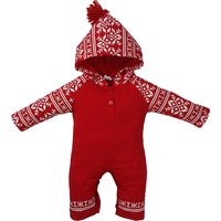 Baby's Comfy Hooded Christmas Jumpsuit in Red