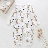 Cute Little Giraffe Print Long-sleeve Jumpsuit for Baby