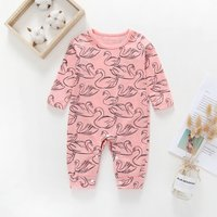 Pretty Swan Print Long-sleeve Jumpsuit for Baby Girl