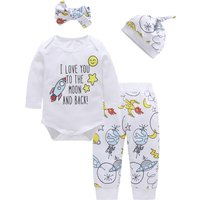 4-piece Adorable Cartoon Print Bodysuit, Pants, Hat and Headband for Baby