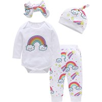 4-piece Adorable Rainbow Print Bodysuit, Pants, Hat and Headband for Baby