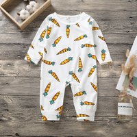 Cuddly Carrot Print Long-sleeve Jumpsuit for Baby