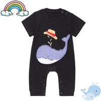Cute Whale Applique Embroidered Short-sleeve Jumpsuit for Baby