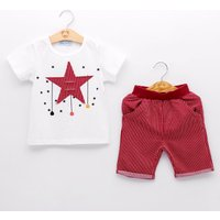 Trendy Appliqued Star Short-sleeve Tee and Striped Shorts Set for Toddler Boy and Boy