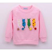 Lovely Appliqued Cat Pomom Decor Pullover for Toddler Girl and Girl