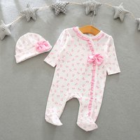 2-piece Sweet Bowknot Print Long-sleeve Footed Jumpsuit and Hat Set for Baby Girl