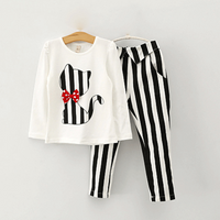 Trendy Cat Embroidered Long-sleeve Tee and Striped Pants Set for Toddler Girl and Girl