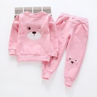 2-piece Pretty Bear Appliqued Long-sleeve Tee and Pants Set for Toddler Girl and Girl