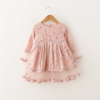 Pretty Lace Flower Mesh Splicing Long-sleeve Dress for Toddler Girl and Girl