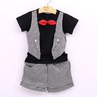Fashionable Plaid Tee with Fake Vest and Shorts Set for Baby Boy