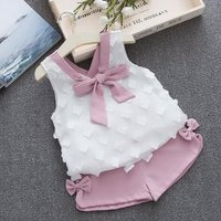 Beautiful Bowknot Decor Tank Top and Shorts Set for Baby Girl