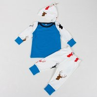 3-piece Comfy Deer Print Top Pants and Hat Set for Baby Boy