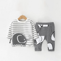 2-piece Cute Elephant Appliqued Striped Top and Pants Set for Baby Boy