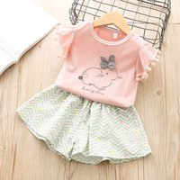 Cute Rabbit Print Tee and Wave Striped Shorts for Toddler Girl