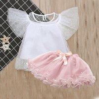 Toddler Girl's Flare-sleeve Top and Tutu Skirt Set