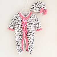 Pretty Bowknot Patterned Long-sleeve Footed Jumpsuit and Hat Set for Baby Girl