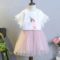 Cute Unicorn Print Tee and Tulle Skirts Set for Toddler Girl and Girl