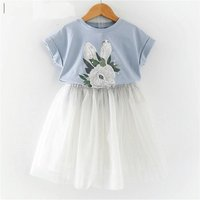 Cute Rabbit Print Tee and Tulle Skirt Set for Toddler and Kid