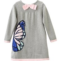 Stylish Butterfly Graphic Long-sleeve Knitted Dress for Toddler Girl and Girl