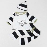 3-piece Super Casual Paper Cranes Print Top, Striped Pants and Hat Set