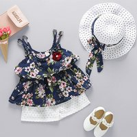 Baby Flower Print Ruffled Strap Top, Shorts and Hat Set