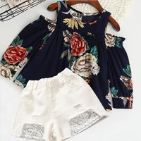 Baby / Toddler Flower Pattern Cold-shoulder Top and Sequined Shorts Set