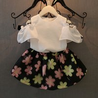 Baby/ Toddler Girl's Cold Shoulder T-shirt and Floral Print Skirt
