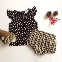 Baby Dotted Ruffle-sleeve Tee and Plaid PP Shorts Set