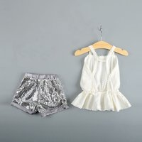 Baby / Toddler Backless Ruffled Hem Top and Sequined Shorts Set