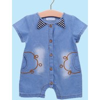 Trendy Embroidered Denim Romper for Baby