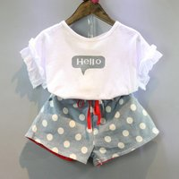 Toddler / Girl Ruffled Sleevs Top and Dotted Denim Shorts Set