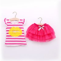 Baby/ Toddler Girl's Striped Mouth Print T-shirt and Tulle Skirt