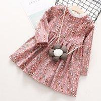 Toddler Girl's Striped Bird Patterned Long-sleeve Dress