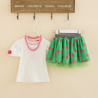 Baby/ Toddler Girl's Solid T-shirt and Bow Print Skirt