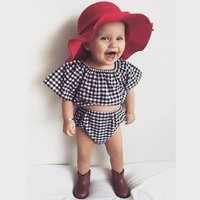 Baby / Toddler Plaid Crop Top and PP Shorts Set