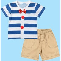 Baby / Toddler Striped Bow Tie Tee and Yellow Shorts Set