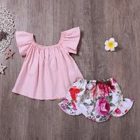 Sweet Flare-sleeve Top and Floral Shorts Set for Baby Girl