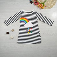 Trendy Rainbow and Cloud Print Long-sleeve T-shirt for Baby and Toddler Girl