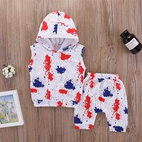 Stylish Painting Pattern Hooded Top and Pants Set for Baby and Toddler Boy