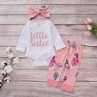 3-piece Pretty Letter Print Long-sleeve Romper, Floral Pants and Headband Set for Baby Girl