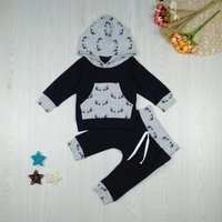 Stylish Antler Print Long-sleeve Hooded Top and Pants Set for Baby Boy