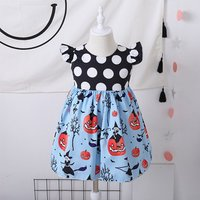 Funny Halloween Pumpkin Ruffle-sleeve Dress for Baby and Toddler Girl