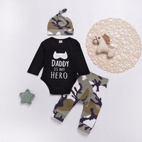 3-piece Trendy Letter Print  Long-sleeve Bodysuit, Camouflage Pants and Hat Set for Baby Boy