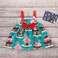 Lovely Christmas Hovel Pattern Strap Dress for Baby and Toddler Girl