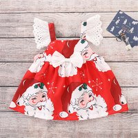 Cheerful Santa Pattern Lace Ruffle-sleeve Dress for Baby and Toddler Girl
