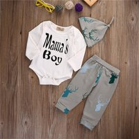 3-piece Letter Print Bodysuit, Deer Patterned Pants and Hat Set